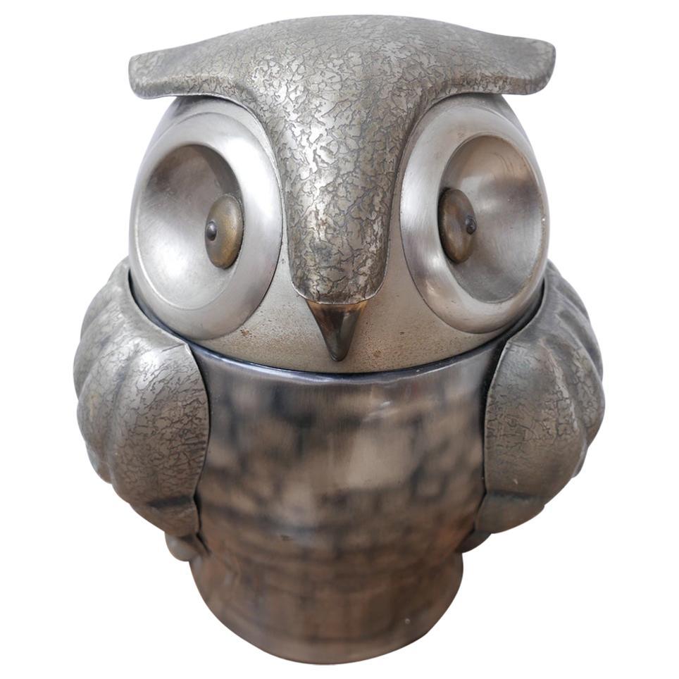 French Mid-Century Owl Ice Bucket