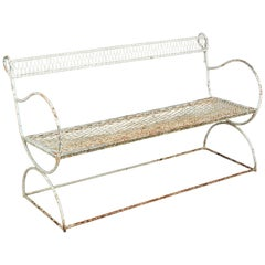 French Midcentury Painted Wrought Iron Garden Bench