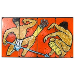 """French Midcentury Painting, """"La Danse"""" on Large Ceramic Panels by Vallauris"""