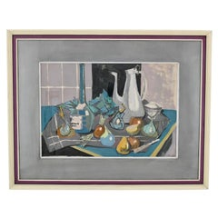French Mid Century Painting Still Life with Coffee Pot by Poulain, 1950