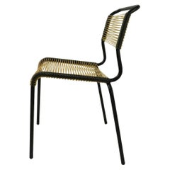 French Mid Century Plastic String Chair with Tubular Steel Frame