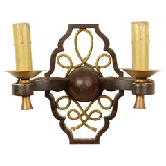 French Mid-Century Poillerat Attributed Gilt Wall Sconce