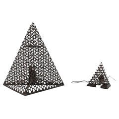 French Mid-Century Pyramid Geometric Floor and Table Lamp Pair