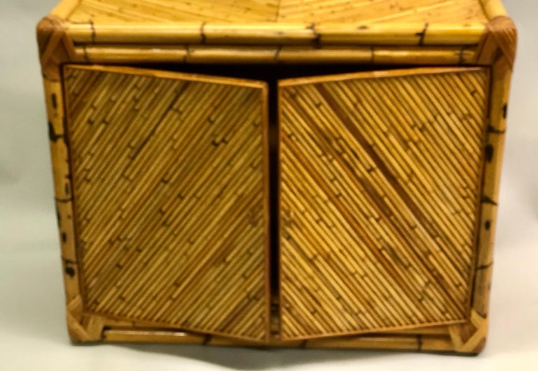 French Midcentury Rattan and Bamboo Sideboard / Cabinet, Jean Royère Attributed For Sale 5