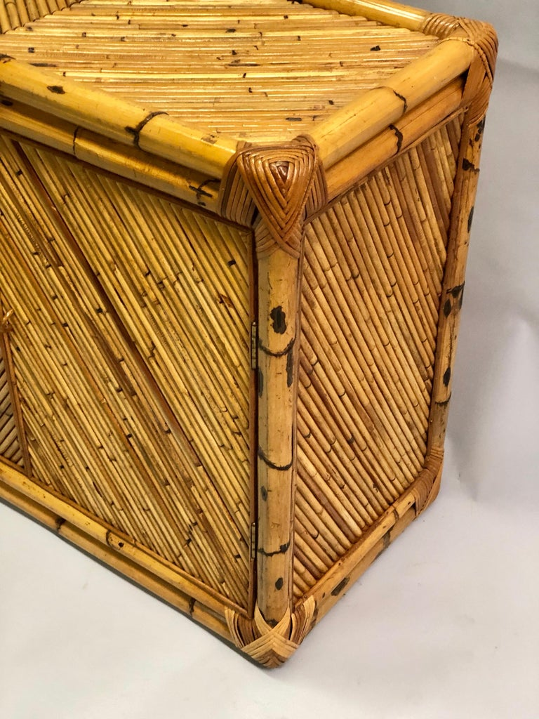 20th Century French Midcentury Rattan and Bamboo Sideboard / Cabinet, Jean Royère Attributed For Sale