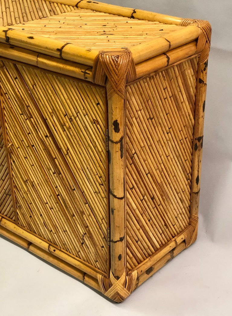 French Midcentury Rattan and Bamboo Sideboard / Cabinet, Jean Royère Attributed For Sale 1