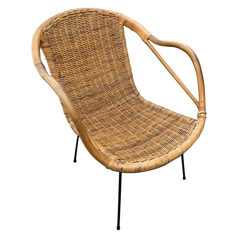 French Mid-Century Rattan Patio Armchair