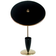 French Midcentury Reflecting Black and Brass Table Lamp, 1950s