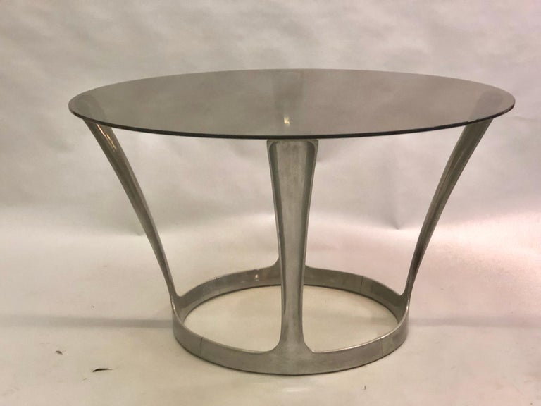 Mid-Century Modern French Midcentury Round Aluminum and Glass Center Dining Table by Boris Tabacoff For Sale