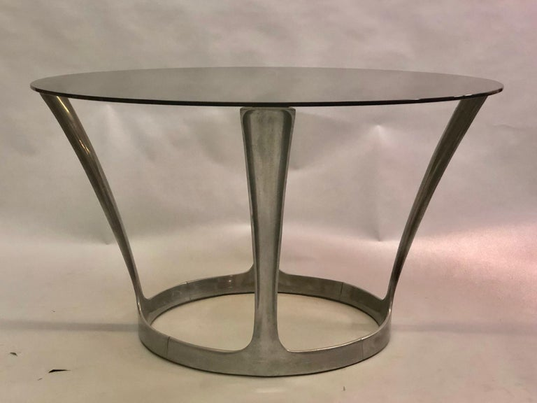 Polished French Midcentury Round Aluminum and Glass Center Dining Table by Boris Tabacoff For Sale