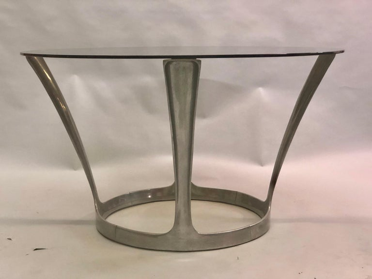 French Midcentury Round Aluminum and Glass Center Dining Table by Boris Tabacoff In Good Condition For Sale In New York, NY