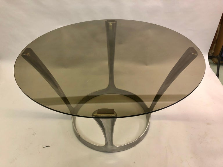20th Century French Midcentury Round Aluminum and Glass Center Dining Table by Boris Tabacoff For Sale