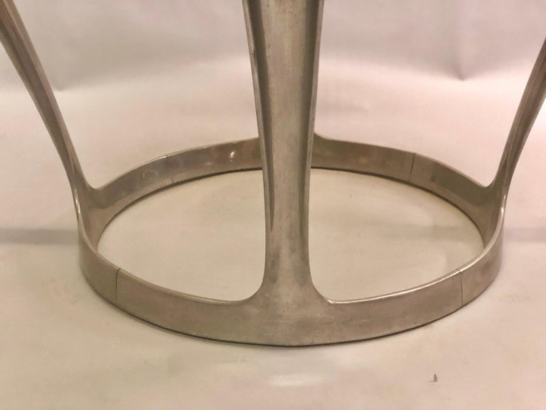 French Midcentury Round Aluminum and Glass Center Dining Table by Boris Tabacoff For Sale 1