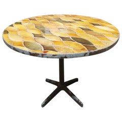French Midcentury Round Tables with Vallauris Ceramic and Metal Base, 1940s