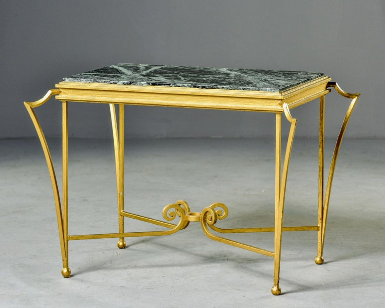 French Midcentury Side Table with Green Marble Top and Gilded Iron Frame In Good Condition For Sale In Troy, MI