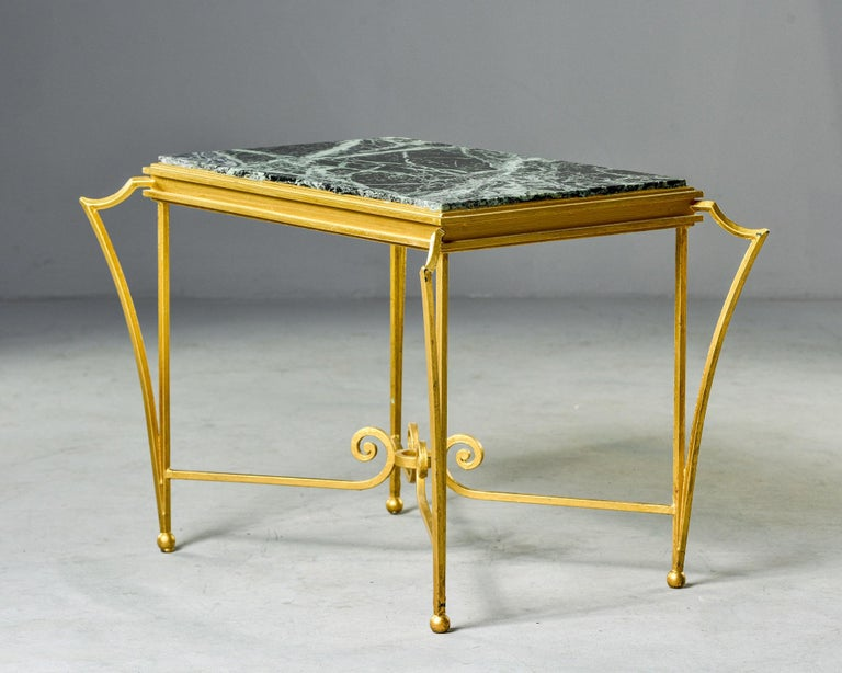 20th Century French Midcentury Side Table with Green Marble Top and Gilded Iron Frame For Sale