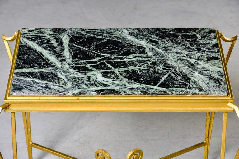 French Midcentury Side Table with Green Marble Top and Gilded Iron Frame For Sale 2