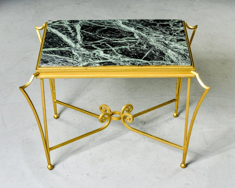 French Midcentury Side Table with Green Marble Top and Gilded Iron Frame For Sale 3