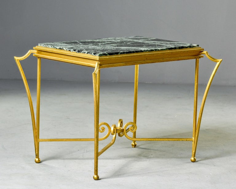 French Midcentury Side Table with Green Marble Top and Gilded Iron Frame For Sale 4