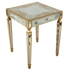 French Mid-Century Square Églomisé and Giltwood End / Side Table