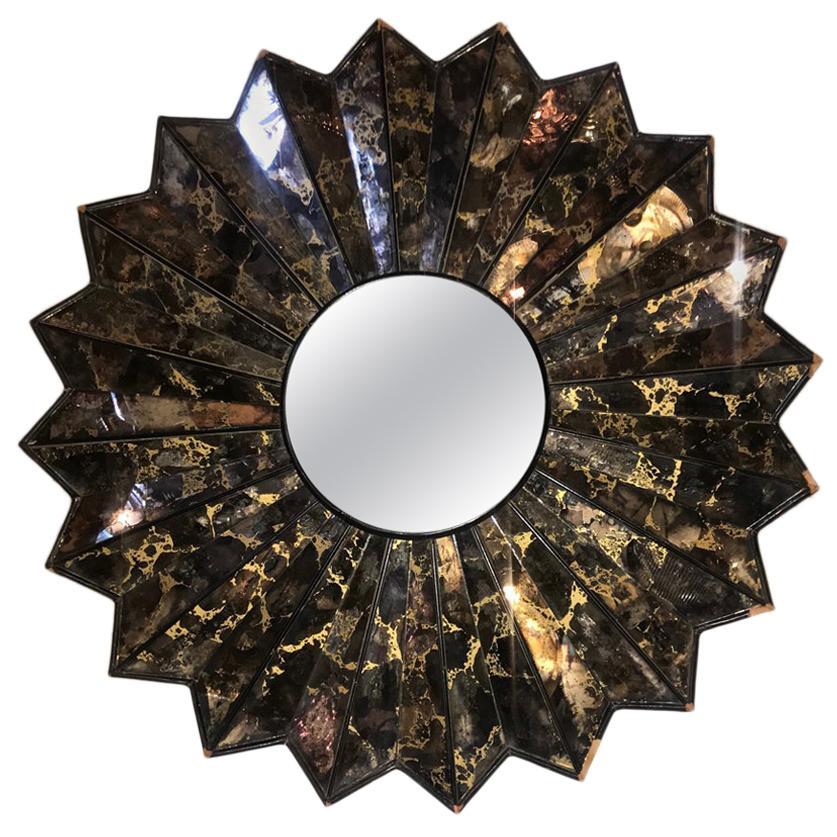 French Midcentury Sunburst Mirror