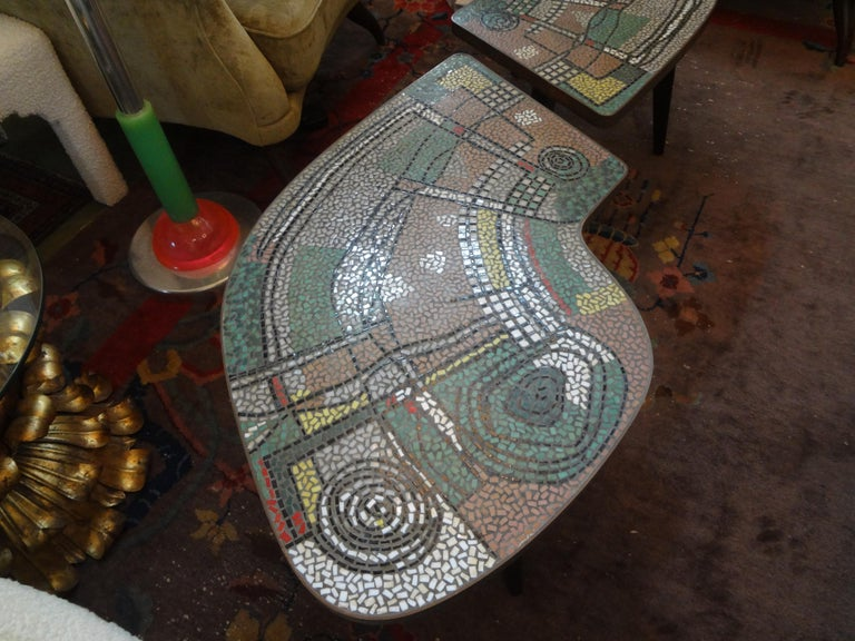 French Mid-Century Two Part Mosaic Tile Topped Curved Table For Sale 3