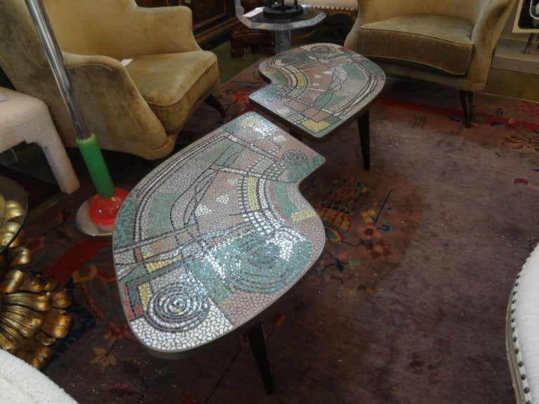 French Mid-Century Two Part Mosaic Tile Topped Curved Table For Sale 4