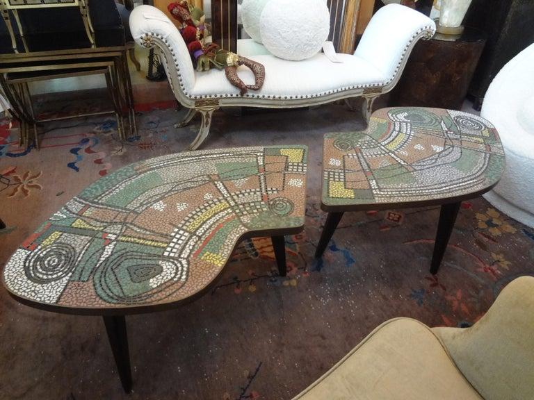 French Mid-Century Two Part Mosaic Tile Topped Curved Table For Sale 5