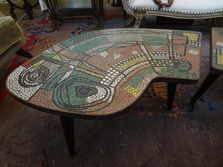 French Mid-Century Two Part Mosaic Tile Topped Curved Table For Sale 6