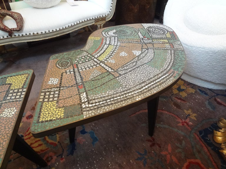 French Mid-Century Two Part Mosaic Tile Topped Curved Table For Sale 7