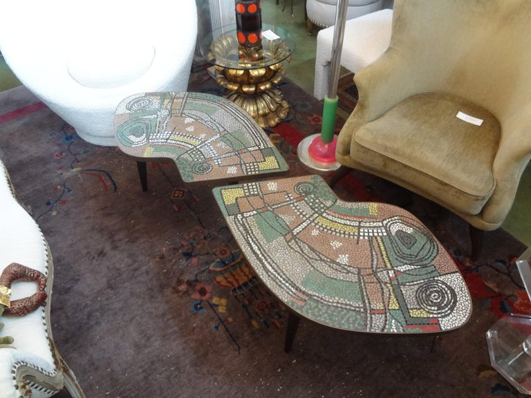 French Mid-Century Two Part Mosaic Tile Topped Curved Table For Sale 8