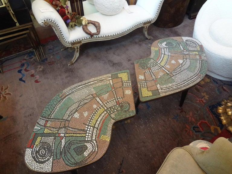 Mid-Century Modern French Mid-Century Two Part Mosaic Tile Topped Curved Table For Sale