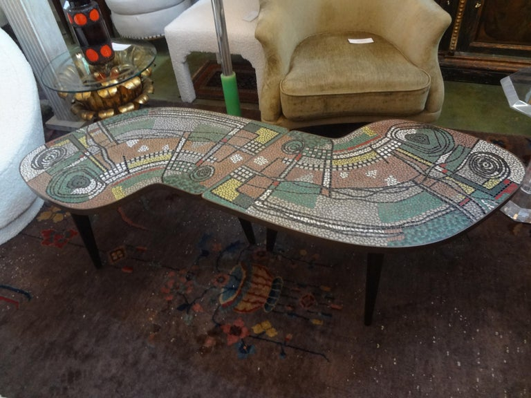 European French Mid-Century Two Part Mosaic Tile Topped Curved Table For Sale