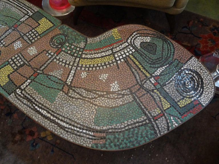 French Mid-Century Two Part Mosaic Tile Topped Curved Table In Good Condition For Sale In Houston, TX