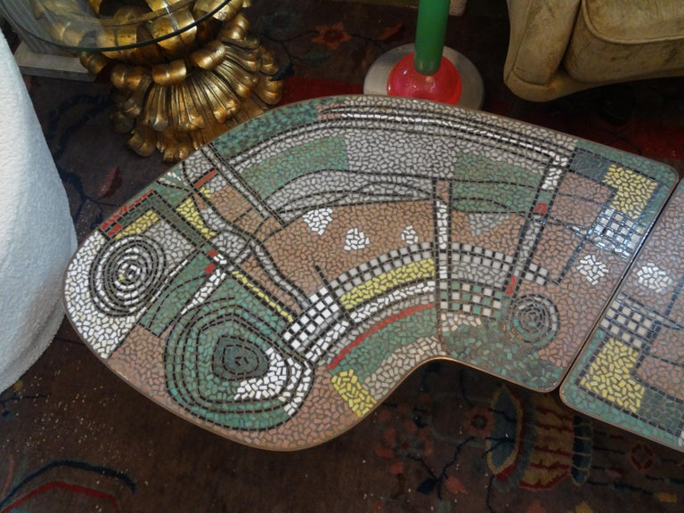 Mid-20th Century French Mid-Century Two Part Mosaic Tile Topped Curved Table For Sale