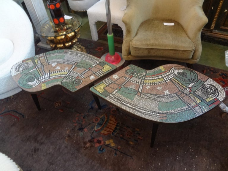 Bronze French Mid-Century Two Part Mosaic Tile Topped Curved Table For Sale