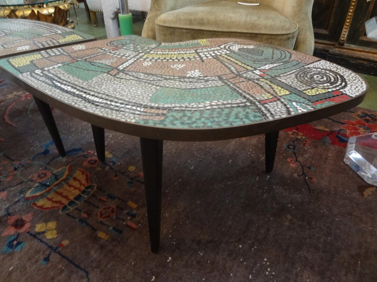 French Mid-Century Two Part Mosaic Tile Topped Curved Table For Sale 1
