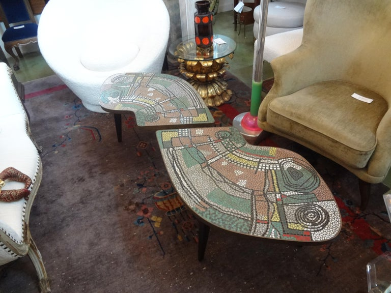 French Mid-Century Two Part Mosaic Tile Topped Curved Table For Sale 2