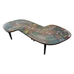 French Mid-Century Two Part Mosaic Tile Topped Curved Table