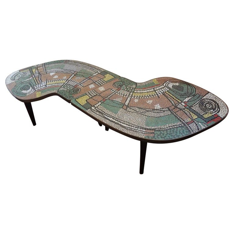 French Mid-Century Two Part Mosaic Tile Topped Curved Table For Sale