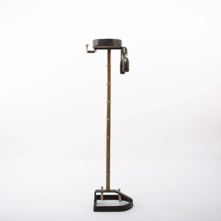 Mid-Century Modern French Midcentury Valet, Jacques Adnet, Steel, Black Leather, Brass  For Sale