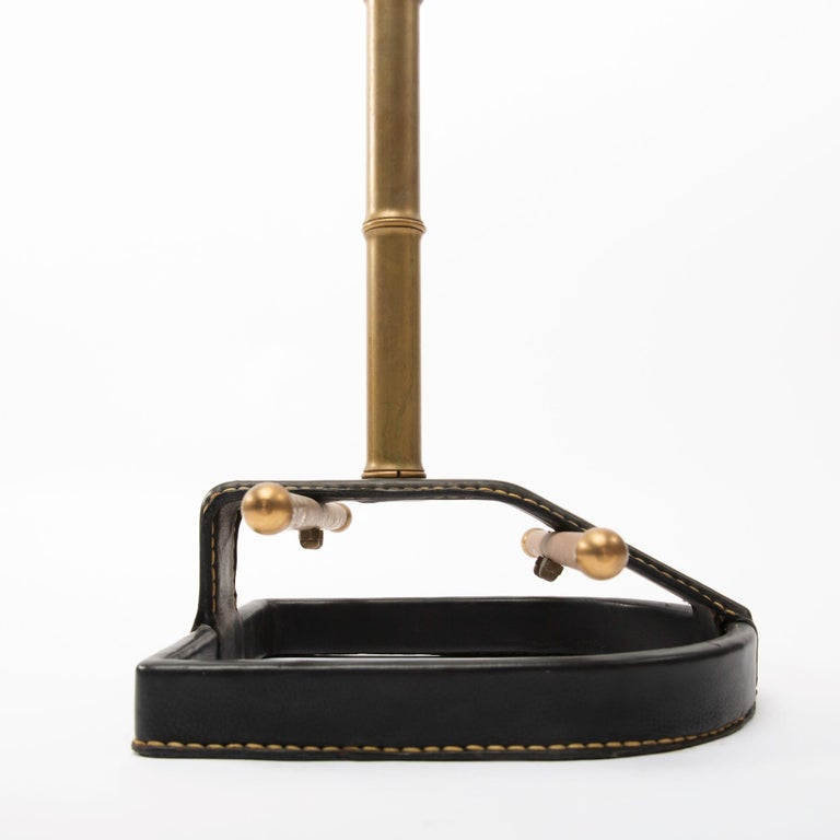 Mid-20th Century French Midcentury Valet, Jacques Adnet, Steel, Black Leather, Brass  For Sale