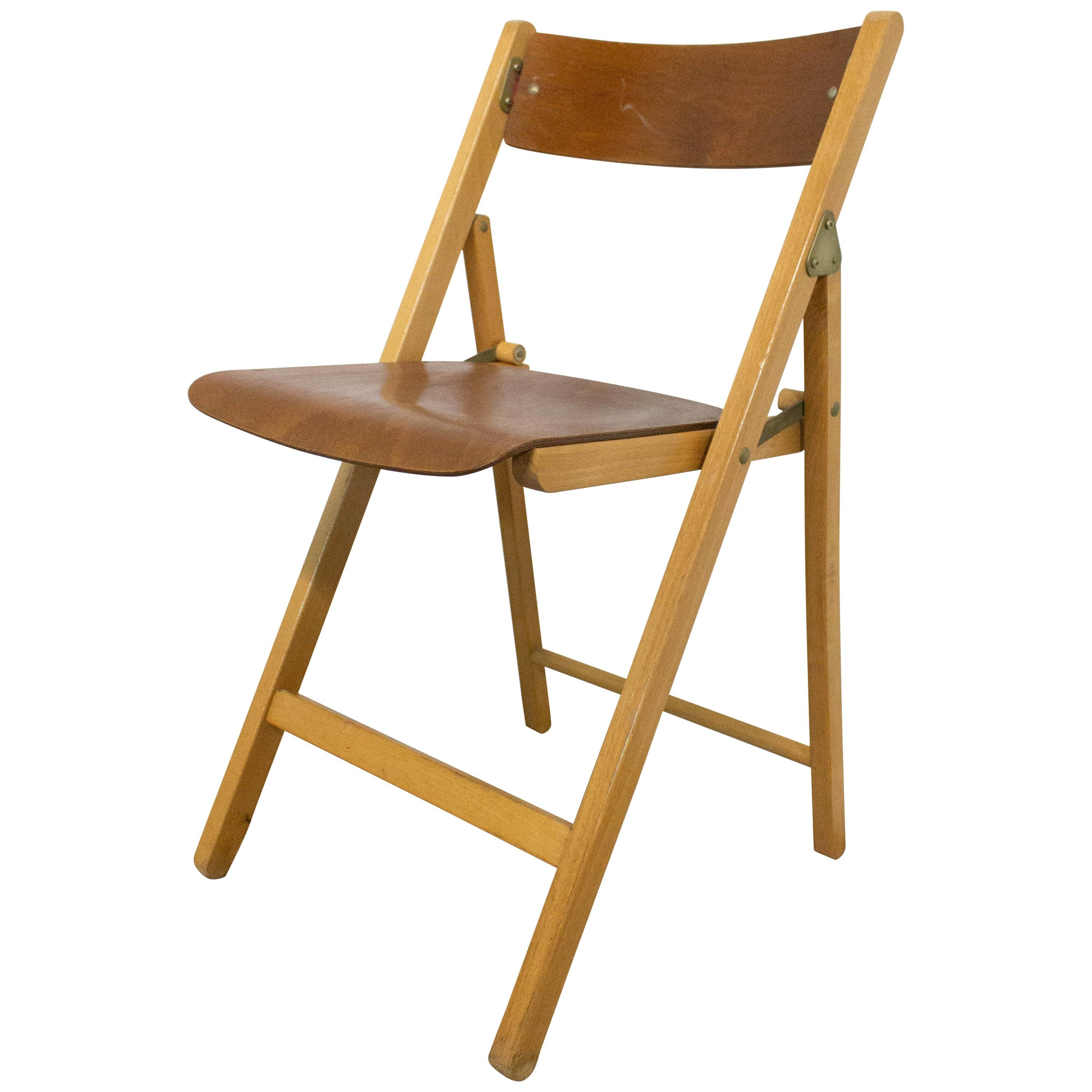 French Midcentury Wood Folding Chair, 1970