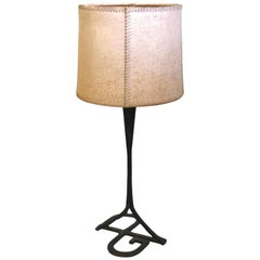 Midcentury Wrought Iron and Parchment Table Lamp, Attributed Gilbert Poillerat