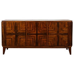 French Midcentury Zebra Wood Buffet Sideboard, 1950s