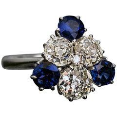 French Midcentury 2.25 Carat Old Mine Cut Diamond 1.79 Carat Sapphire Ring