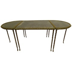 French Midcentury 3 Part Gilt Bronze Faux Bamboo Coffee Table by Maison Baguès