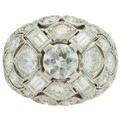 French Midcentury 3.80 Carat Diamond Dome Ring in 18K White Gold, circa 1950