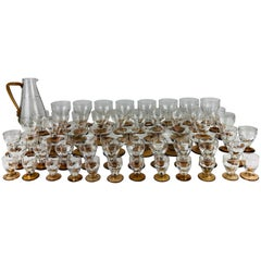 French Vintage Amber Colored 60 Piece Water Wine Champagne Liquor Stemware Set