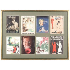 French Midcentury Advertising Posters in Wooden Frame, 1960s